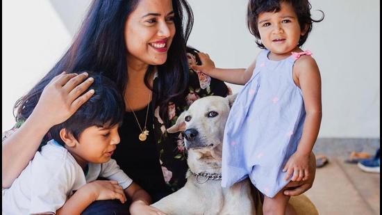 Actor Sameera Reddy with her kids