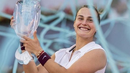 Aryna Sabalenka with the Madrid Open trophy. (AP)