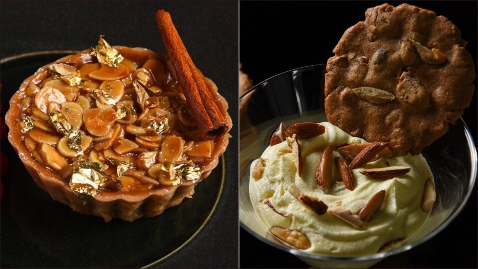 Almond cinnamon tart or badam milk mousse with almond biscuit? Pick your dessert