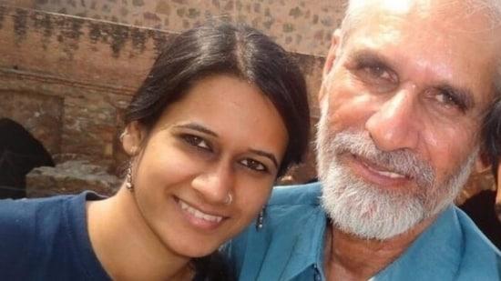 File photo of jailed Pinjra Tod activist Natasha Narwal with her father, Mahavir Narwal. (Social media)