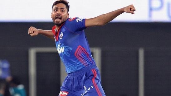 Avesh Khan of Delhi Capitals in action during IPL 2021.(IPL)