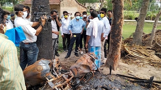 A team of the Union home ministry visits an area near Kolkata on Sunday to inspect it in the wake of violence after assembly elections.(ANI Photo)