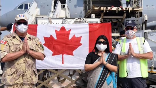 A shipment from Canada carrying 50 ventilators and 25,000 vials of Remdesivir arrives at Indira Gandhi International Airport in New Delhi on Saturday. (ANI)