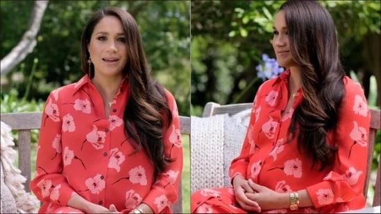 Meghan Markle serves maternity fashion inspo in a steamy poppy print shirt dress(Instagram/meghanmarklesource)