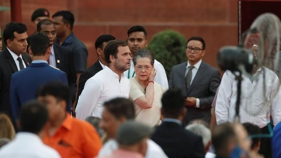 Congress leader Rahul Gandhi and party president Sonia Gandhi at the presidential palace in New Delhi. (Reuters)