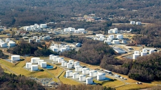 Holding tanks are seen at Colonial Pipeline's Charlotte Tank Farm in Charlotte, North Carolina, US.(via Reuters)