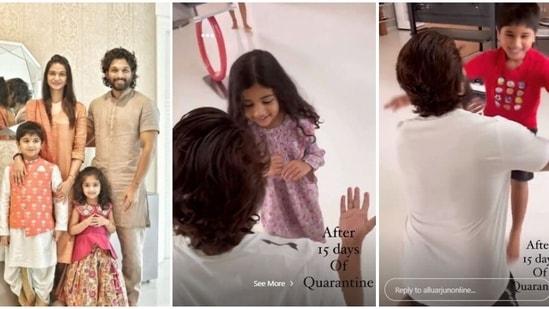 Allu Arjun shared video of meeting his kids after the quarantine period.