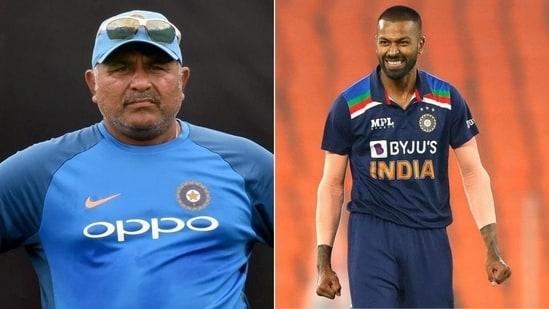 Indian bowling coach Bharat Arun (L), Indian all-rounder Hardik Pandya (R)(HT Collage)