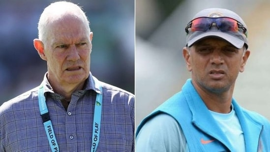 Former Indian head coach Greg Chappell (L), Former Indian captain Rahul Dravid(HT Collage)