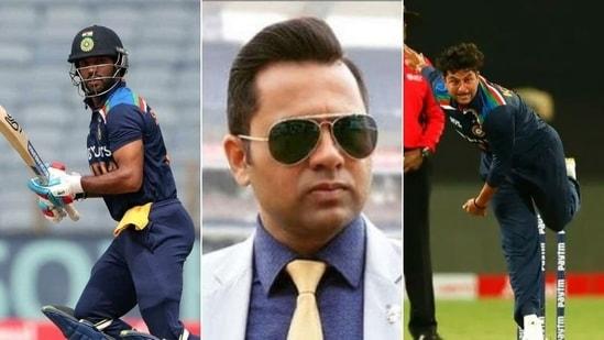 Indian opener Shikhar Dhawan (L), former cricketer Aakash Chopra (center) and leg-spinner Kuldeep Yadav(HT Collage)