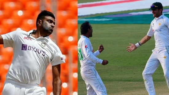 R Ashwin of India (left) and Nauman Ali and Shaheen Afridi of Pakistan (right).(HT Collage)