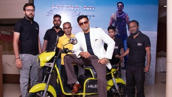 Sangram Singh at the launch of electric scooter by Aslov Automotives Private Limited