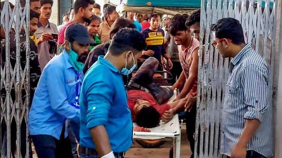 A person injured in the clashes during the fourth phase of West Bengal assembly elections, in Cooch Behar, being taken away on April 10. (File photo)
