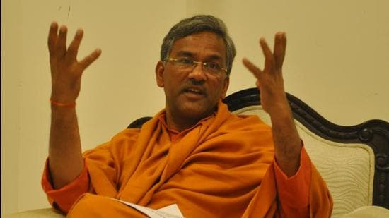 Former Uttarakhand chief minister Trivendra Singh Rawat triggered a political row over his controversial comments during an interview on the coronavirus pandemic. (HT File Photo)