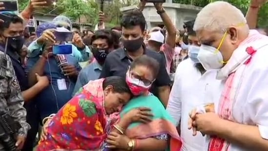 West Bengal governor Jagdeep Dhankar meets locals in Cooch Behar district on Thursday,(ANI Photo)