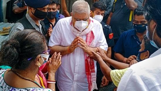 West Bengal governor Jagdeep Dhankar meets Sitalkuchi violence victims in Cooch Behar.(PTI)