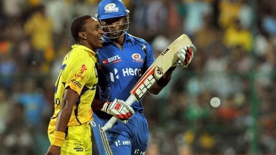 Dwayne Bravo and Kieron Pollard in IPL 2012. (Getty Images)