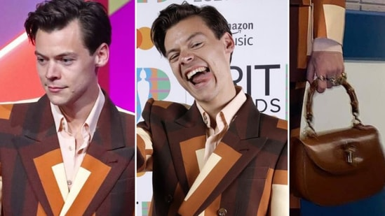 Harry Styles in his Gucci suit and Gucci bag at the BRIT Awards 2021(Instagram)