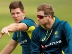 Australia's Steve Smith and Tim Paine during nets.(Action Images via Reuters)