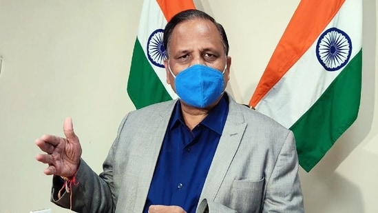 """""""Covaxin stock has almost ended. We only have 2-3 days of stock for Covidshield vaccines for 18- 44 years of age group,"""" Delhi health minister Satyendar Jain said.(HT File Photo)"""