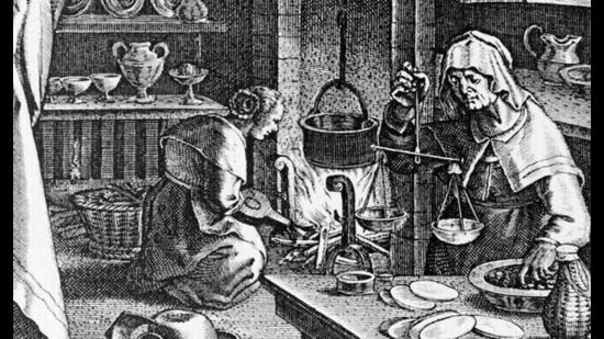 A 16th-century engraving of medicine being made from the wood of the guaiacwood tree. Across cultures, most remedies were passed on by women and came from inside the kitchen, researchers have found. (Shutterstock)