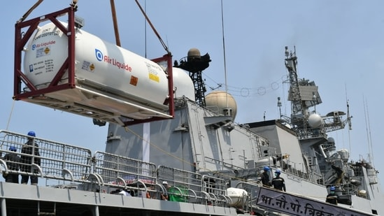 Just as India came to the aid of these countries during the first wave of the pandemic, the West Asian allies with countries like France adding to the heft, have established an 'Oxygen Solidarity Bridge' with India since April 29.(Indian Navy)