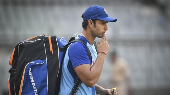 Indian player Shivam Dube during a practice session.(PTI)