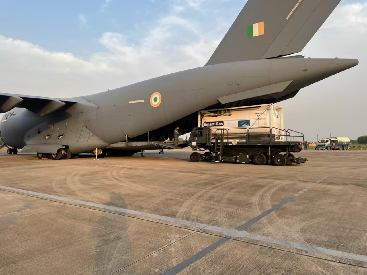 Four cryogenic oxygen containers have arrived in India at Panagarh Air Base from Singapore.(@IAF_MCC)