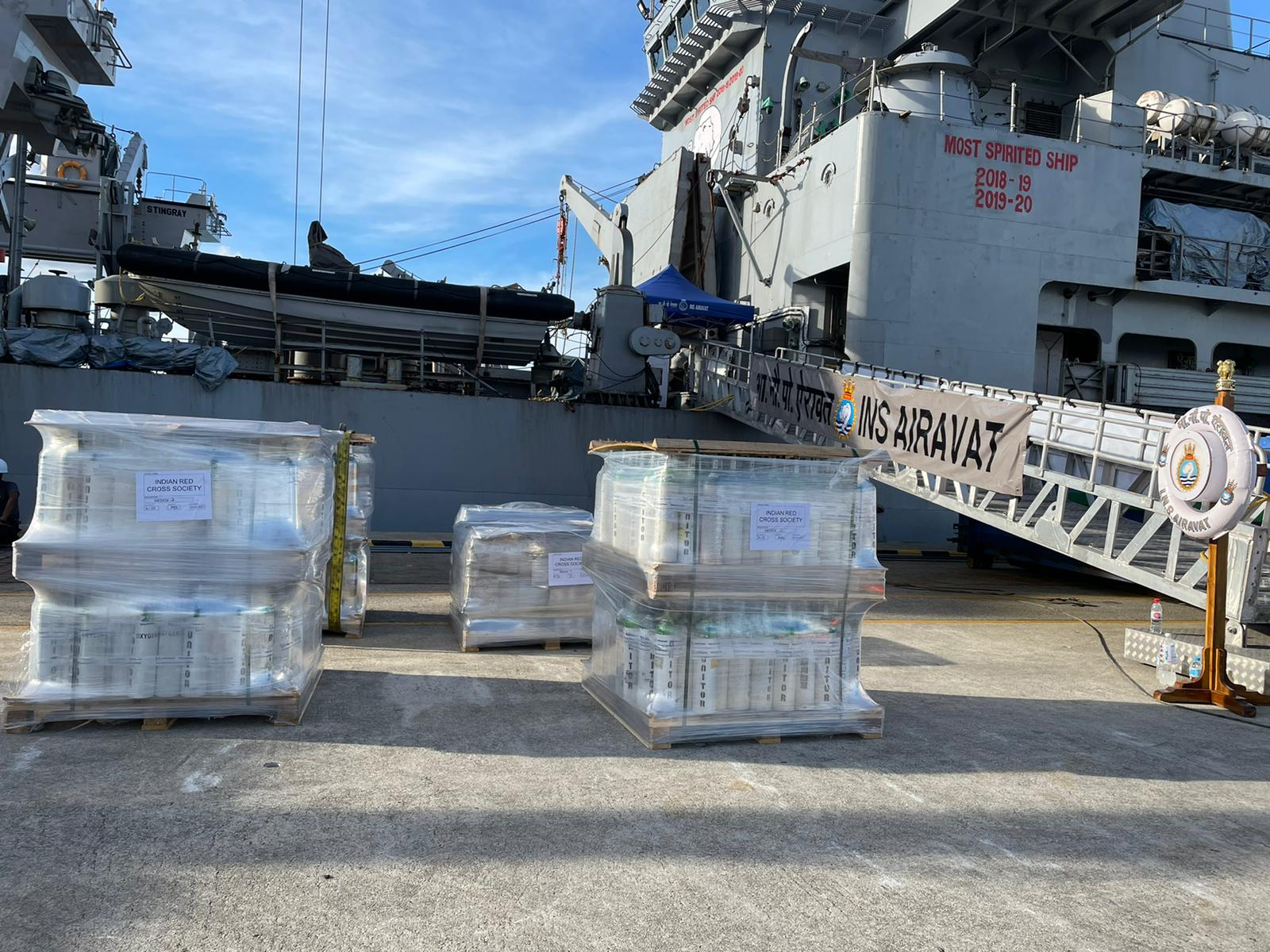 INS Airawat brought medical supply from Singapore.(Indian Navy)