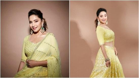 Madhuri Dixit in bright yellow lehenga(Instagram/madhuridixitnene)