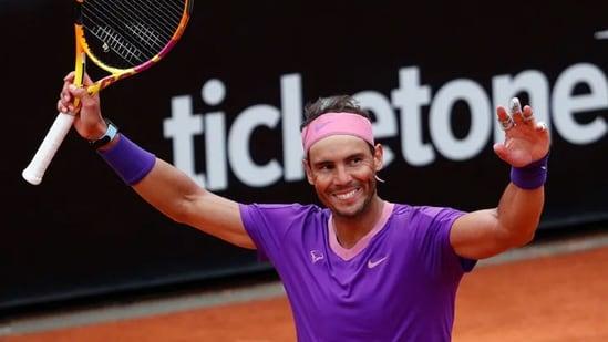 Rafael Nadal celebrates his win. (Reuters)