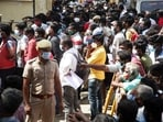 A massive crowd outside Jawaharlal Nehru Stadium in Chennai to buy Remdesivir medicine.(ANI)