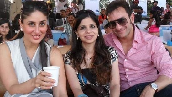 Saba Ali Khan with Saif Ali Khan and Kareena Kapoor Khan.
