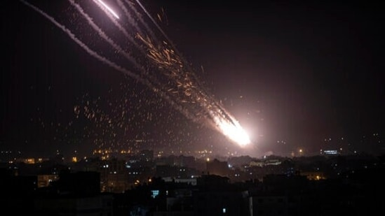 Rockets are launched from the Gaza Strip towards Israel.(AP)