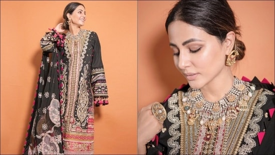 Hina Khan redefines ethnic beauty in <span class='webrupee'>₹</span>7k regal black embroidered lawn suit(Instagram/realhinakhan)