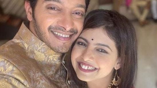 Shreyas Talpade poses with wife Deepti.