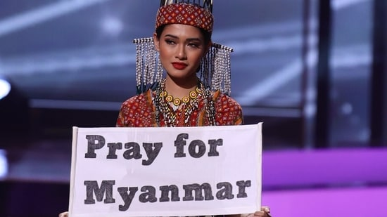Miss Myanmar Thuzar Wint Lwin appears onstage at the Miss Universe 2021 - National Costume Show at Seminole Hard Rock Hotel & Casino.(AFP)