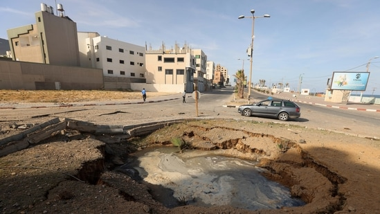 A view shows a destroyed road following Israeli air strikes in Gaza City May 17, 2021.(Reuters)