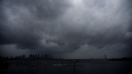 Dark clouds hover over the citys skyline as Cyclone Tauktae approches to Mumbai seen from Bandra Reclamation, Bandra, in Mumbai, India on Monday, May 17, 2021.(Photo by Vijay Bate/HT Photo)