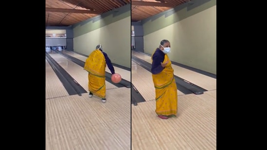 Stills from the video showing the grandma bowling and her reaction later on. (Twitter/@sudkrish)