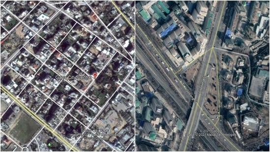 The satellite images of Pyongyang (R), North Korea's secretive capital, are of far better quality than that of Gaza City (L).(Google Earth)