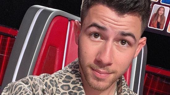 Nick Jonas on the sets of The Voice on Monday.