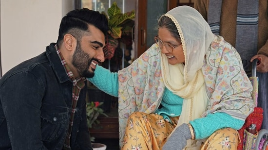Sardar Ka Grandson movie review: Arjun Kapoor and Neena Gupta in a still from the new Netflix film.