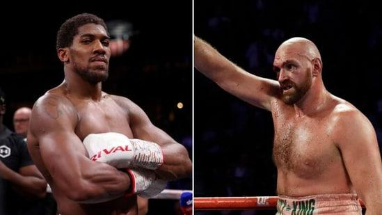 Anthony Joshua (left) and Tyson Fury.(Twitter)