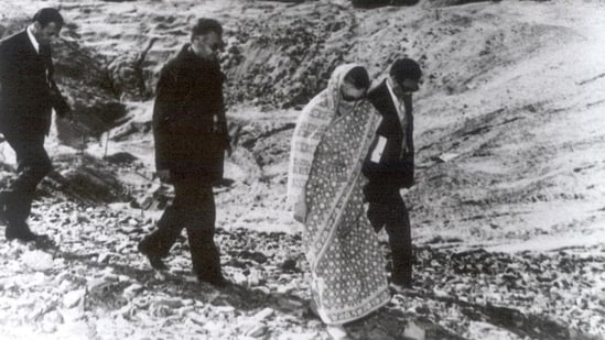 Prime Minister Indira Gandhi visits the site of India's first nuclear test at Pokhran in Rajasthan, in 1974.(HT File Photo)