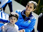 File Photo of Sania Mirza and her son Izhann.(HT Photo)