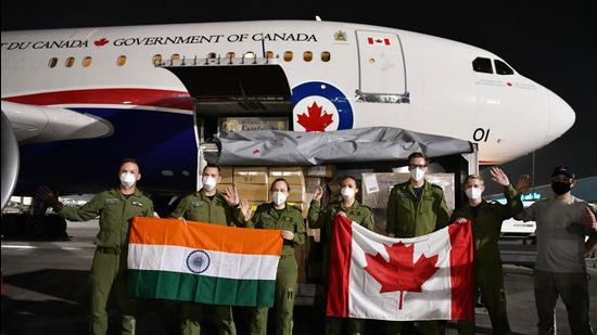 An aircraft from Canada carrying Covid-19 relief materials after arriving at the Indira Gandhi International Airport in New Delhi last week. (ANI)