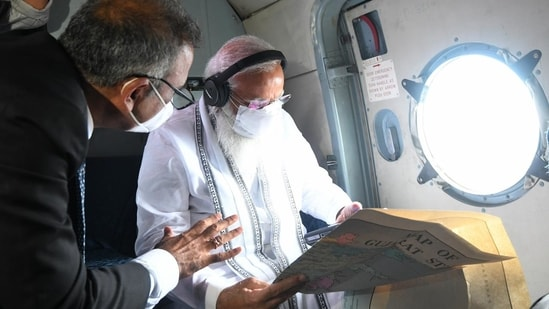 PM Modi conducts an aerial survey of the cyclone Tauktae affected areas of Gujarat and Diu.
