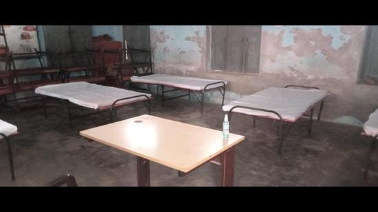 A view of isolation centre at Rohtak's Bainsi village. (HT Photo)