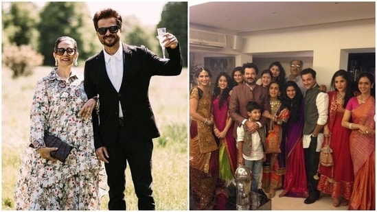 Anil Kapoor with his wife Sunita and their family.